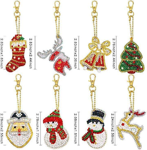 Christmas (8pcs) - DIY Diamond Painting Keychain