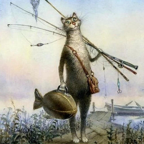 Image of Cat going Fishing -  DIY Painting By Numbers