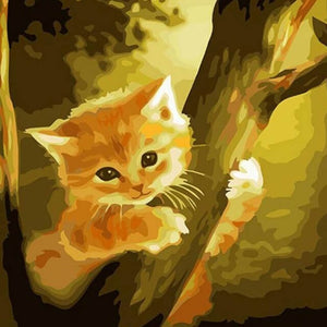 Cat climbing on a Tree- DIY Painting By Numbers