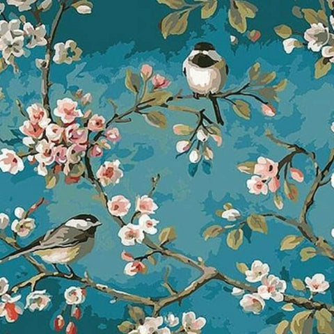 Birds on Almond Tree - DIY Painting By Numbers