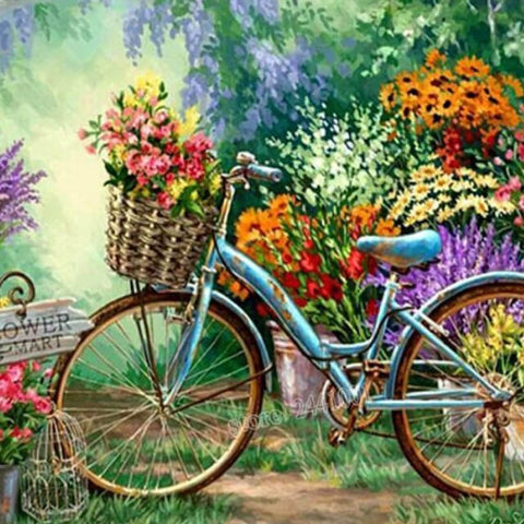 Image of Bicycle in a Flower Mart - DIY Diamond  Painting