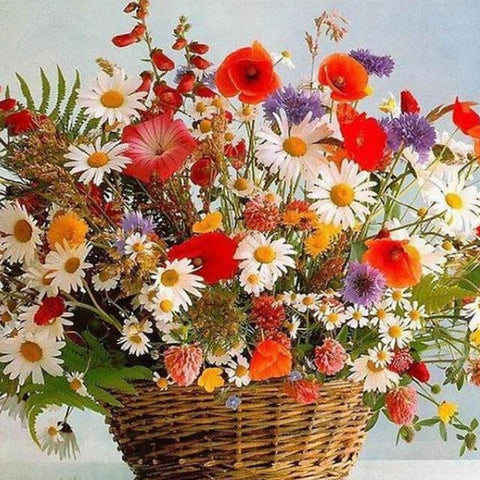 Image of Flowers in a basket - DIY Painting By Numbers