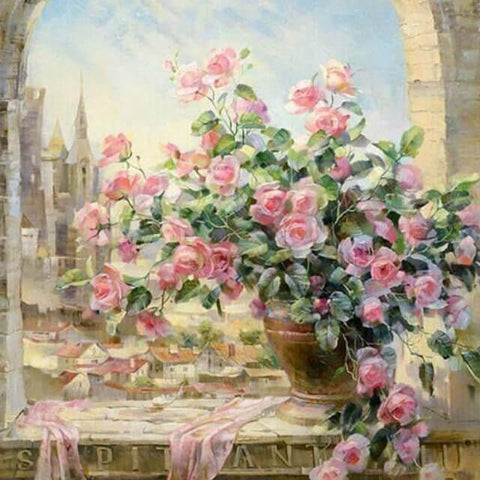 Image of Flowers By the Window - DIY Painting By Numbers