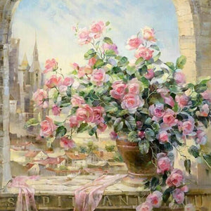 Flowers By the Window - DIY Painting By Numbers