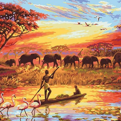 Image of Elephant Sunset Landscape - DIY Painting By Numbers
