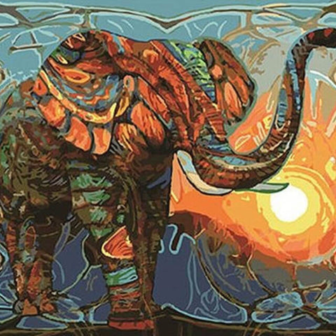 Image of Elephant Abstract - DIY Painting By Numbers