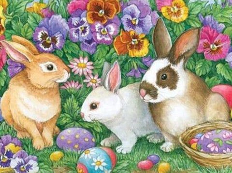 Image of Easter Rabbits in the Garden - DIY Diamond Painting