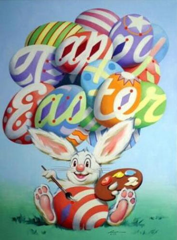 Image of Rabbit Painting Happy Easter - DIY Diamond Painting