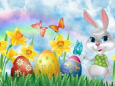 Image of Rabbit with Easter Eggs in the Yard - DIY Diamond Painting