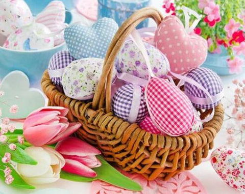 Image of Easter Pastel Eggs in a Basket - DIY Diamond Painting