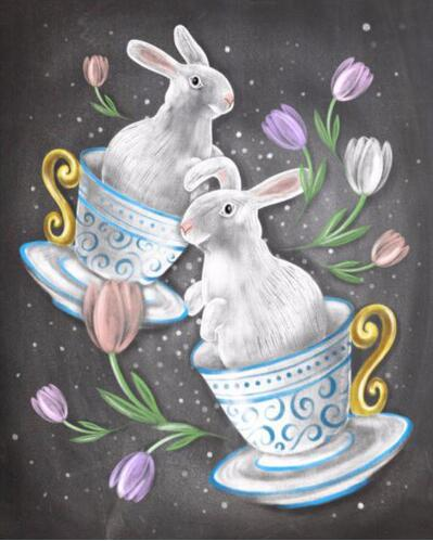 Easter Rabbit in a Teacup - DIY Diamond Painting