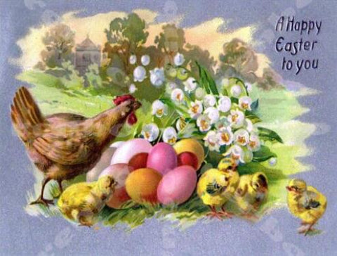 Image of Chicken with her Easter Eggs - DIY Diamond Painting