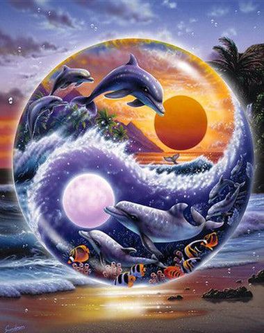 Image of Yin-yang Dolphin - DIY Diamond Painting