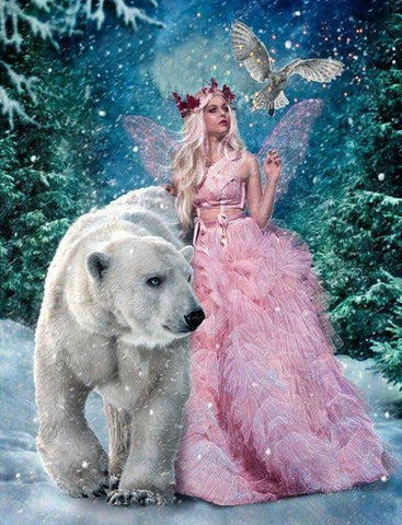 Image of Fairy and a Polar Bear - DIY Diamond Painting