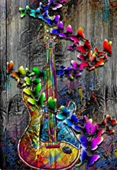 Image of Rainbow Guitar and a Butterflies - DIY Diamond Painting