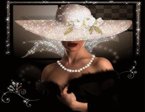 Image of Fancy Lady in Black - DIY Diamond Painting