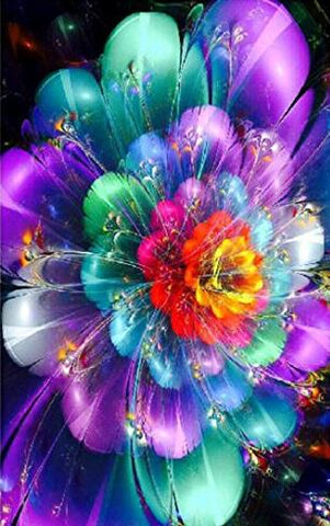 Image of Colorful Feather Flower - DIY Diamond Painting