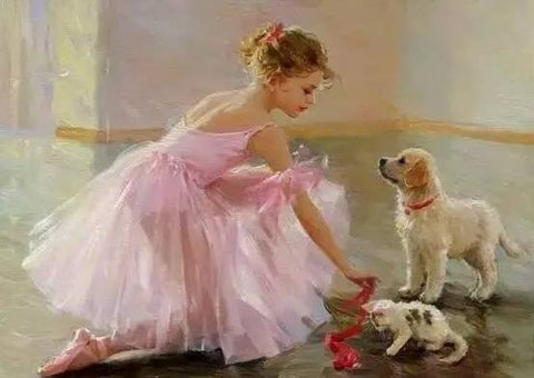 Image of Ballerina with her Pets - DIY Diamond Painting