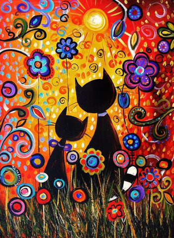 Image of Lovely Cats Cartoon - DIY Diamond Painting