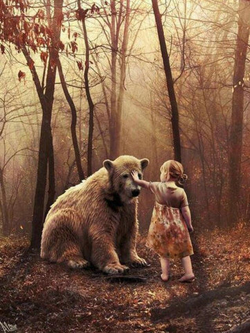 Image of Wild Bear and a Little Girl - DIY Diamond Painting