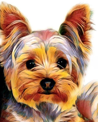 Image of colorful dog paintings
