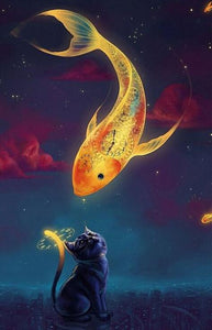 Golden Fish and a Cat - DIY Diamond Painting