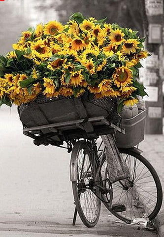 Image of Sunflowers in a Bicycle - DIY Diamond Painting