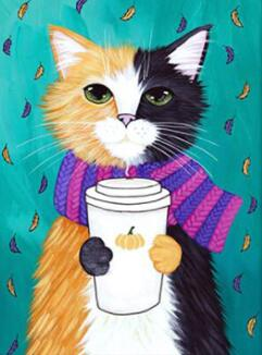 Image of Yellow and Black Cat with a Latte - DIY Diamond Painting