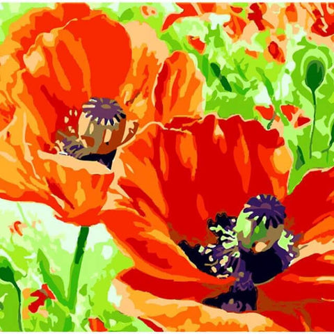 Image of Red Flowers In The Field - DIY Painting By Numbers
