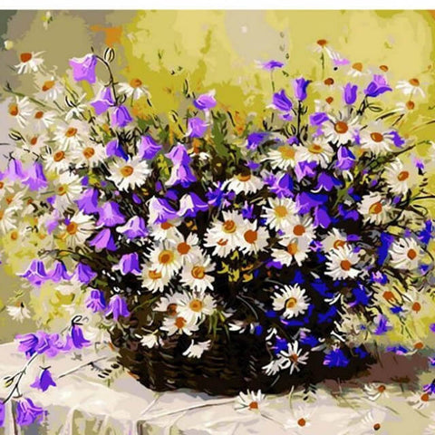 Image of Purple and White Bouquet - DIY Painting By Numbers