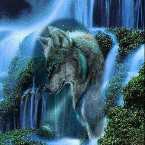 Image of wolf paint by numbers