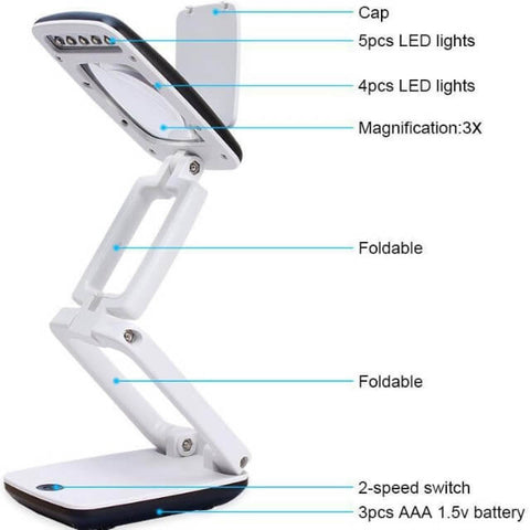 Foldable 3X Magnifier LED - perfect for Diamond Painting