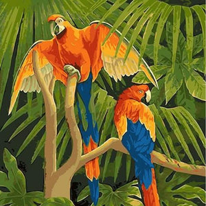 Parrots on a Tree -  DIY Painting By Numbers