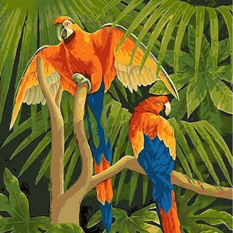 Image of Parrots on a Tree -  DIY Painting By Numbers