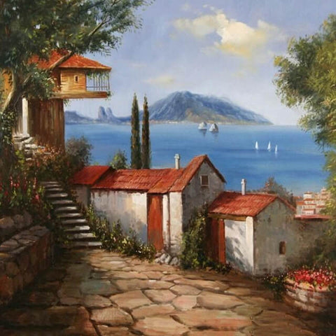 Image of Old House By The Sea - DIY Painting By Numbers Kit