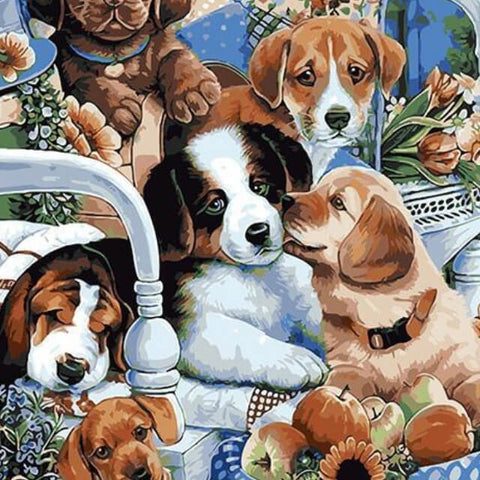 Image of Lovely Puppies - DIY Painting By Numbers