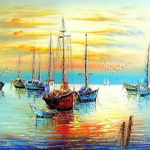 Image of Sailing Boats Landscape - DIY Painting By Numbers