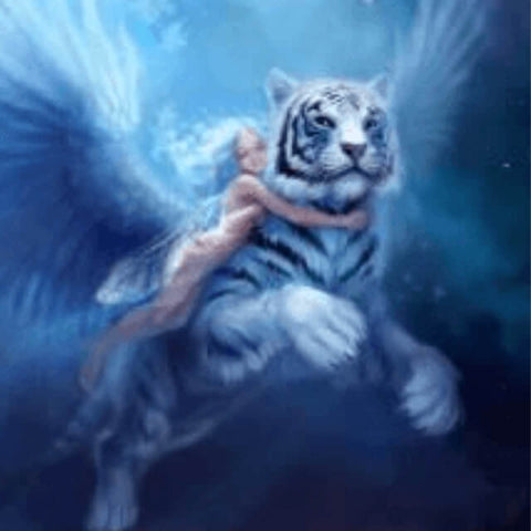 Image of Fairy hugging a flying tiger - DIY Diamond Painting