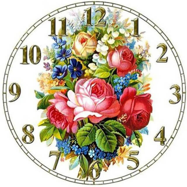 Floral Clock - DIY Diamond Painting