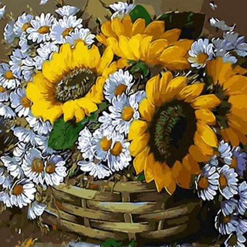 Image of Sunflowers in a Basket - DIY Painting By Numbers