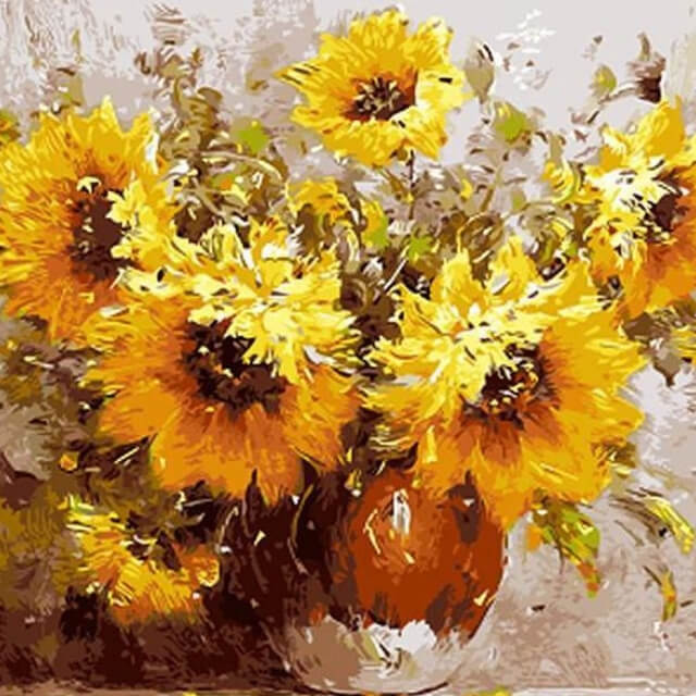 Sunflowers in a Vase - DIY Painting By Numbers
