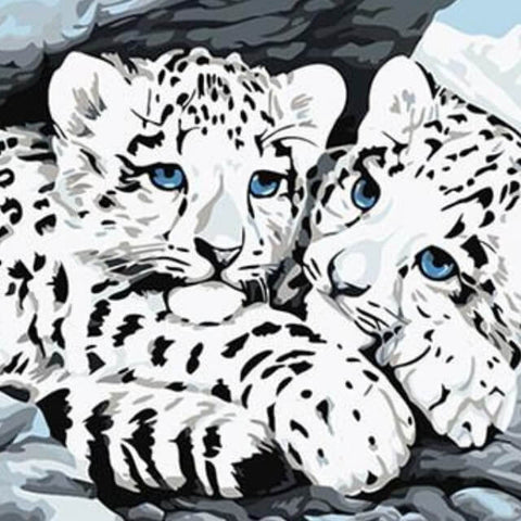 White Tigers in the Snow - DIY Painting By Numbers