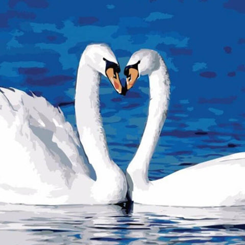 Image of White Swans- DIY Painting By Numbers