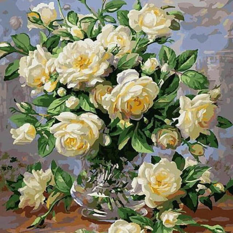 White Flowers in a Vase - DIY Painting By Numbers