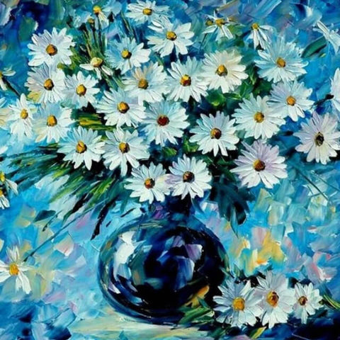 White Flower in a Vase - DIY Painting By Numbers