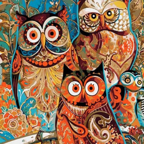Image of Abstract Owls -  DIY Painting By Numbers