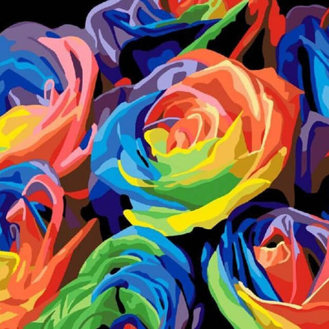 Abstract Colourful Roses - DIY Painting By Numbers