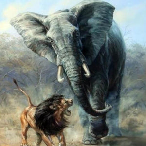 Lion Fights with an Elephant - DIY Painting By Numbers