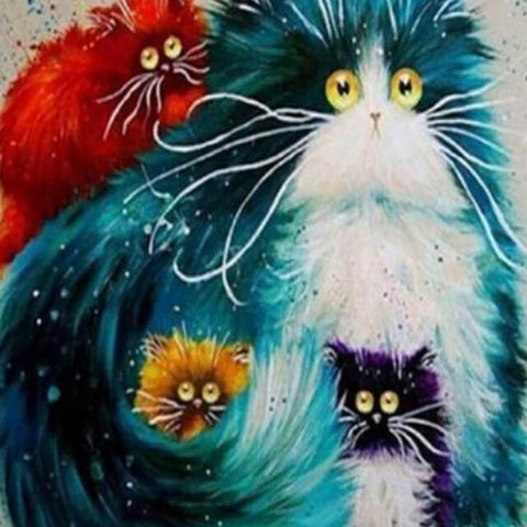 Image of Funny Cats - DIY Painting By Numbers