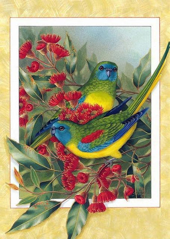 Image of paintings of trees with birds